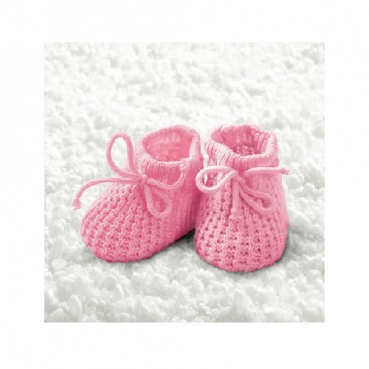 20er Pack Cocktail Servietten Taufe, Baby Strickschühchen in Rosa, 24 x 24 cm