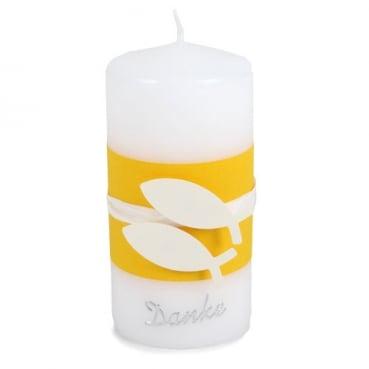 Danke Kerze Kommunion, Konfirmation, Motiv Fische, Banderole in Sonnengelb