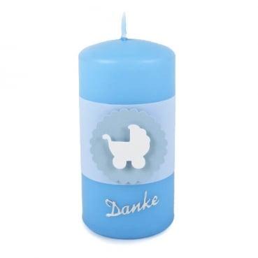Danke Kerze in Hellblau Taufe, Motiv Kinderwagen, Banderole in Weiß