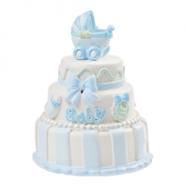 Deko Babytorte, Taufe in Hellblau, 65 mm