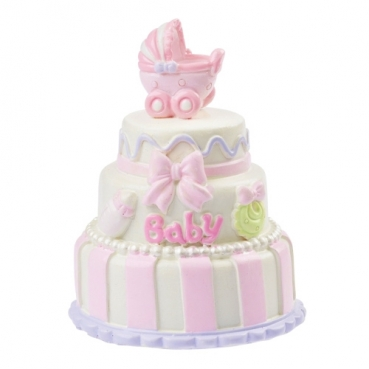 Deko Babytorte, Taufe in Rosa, 65 mm