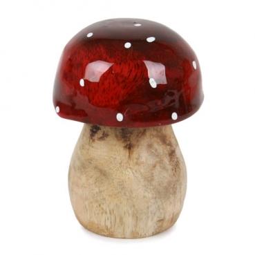 Deko Fliegenpilz aus Mangoholz, Hut rund, rot lasiert, 70 mm