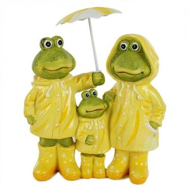Deko Frosch Familie mit Regenschirm, 21 cm