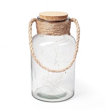 Deko Glas mit Sisal, Kork mit LED Lichtdraht, zum Aufhängen und Hinstellen, 26 cm