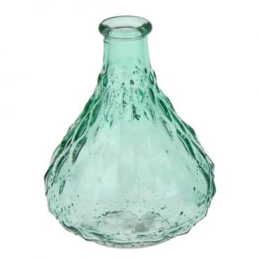 Deko Glas Flaschen Väschen, Vintage in Mintgrün, 12 cm