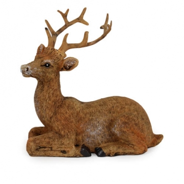 Dekofigur Hirsch liegend in Braun, 10 cm