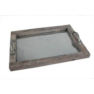 Vintage Holztablett, Gesteckunterlage, rechteckig mit Henkel, Größe M, 34 cm