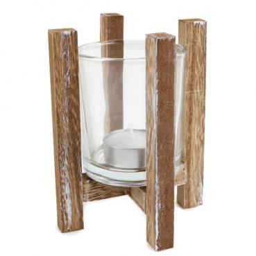 Holzgestell mit Teelichtglas und Teelicht, 13 cm