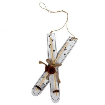 Holz Christbaumschmuck, Ski mit Stern & Glöckchen in Weiß, 20 cm