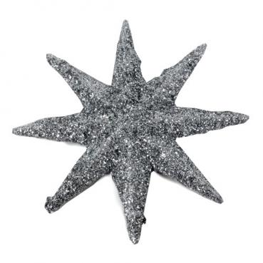 Deko Weihnachtsstern in Silber glitzernd, 10 cm