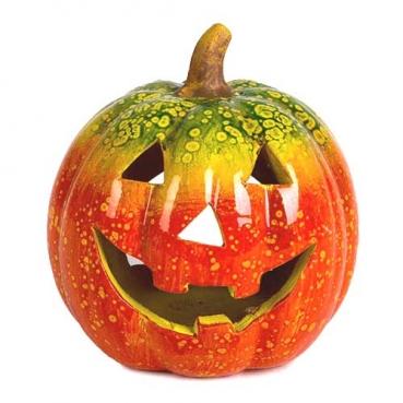 Keramik Windlicht Halloween Kürbis, lackiert, 15 cm