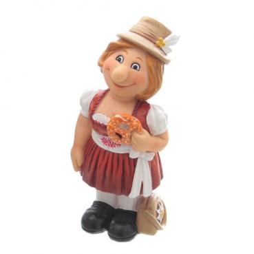 Oktoberfest Trachten Frau mit Brezel, 95 mm