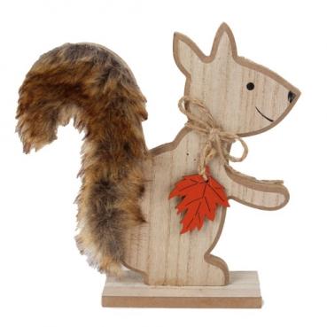 Holz Eichhörnchen mit flauschigem Kunstfell, Ahornblatt in Rot, 19 cm