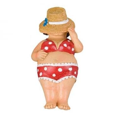 Dekofigur Strandschläfer, Frau im Bikini mit Hut, 90 mm