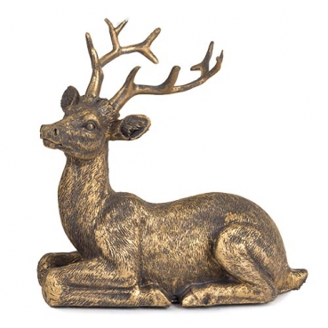 Dekofigur Hirsch liegend in Antik-Gold matt, 10 cm