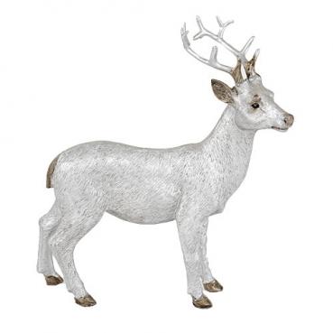 Dekofigur Hirsch stehend in Antik-Silber matt, 16 cm