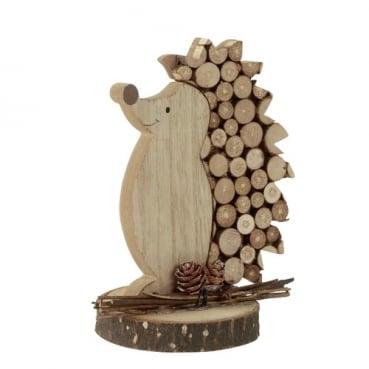 Dekofigur Holz Igel mit Verzierung in Hellbraun, 14,5 cm