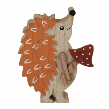 Holz Igel in Orange/Braun mit Fliegenpilz in Rot-Braun, 12 cm