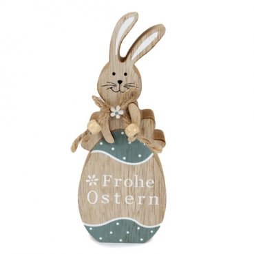 Holz Osterhase auf Osterei -Frohe Ostern- in Hellbraun/Petrol, 18 cm