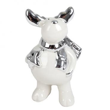 Porzellan Elch mit Stern, Weihnachten in Weiß/Silber, 10 cm
