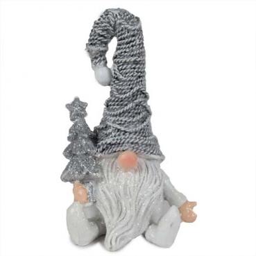 Dekofigur Weihnachts-Wichtel mit Tannenbaum in Silber, 11 cm