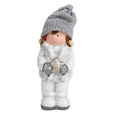 Deko Winter Mädchen mit Strickmütze und Stern in Weiß/Grau glitzernd, 12 cm
