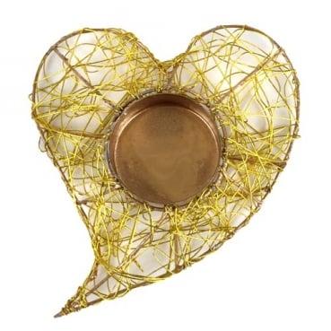 Drahtherz mit Teelichthalter in Gold