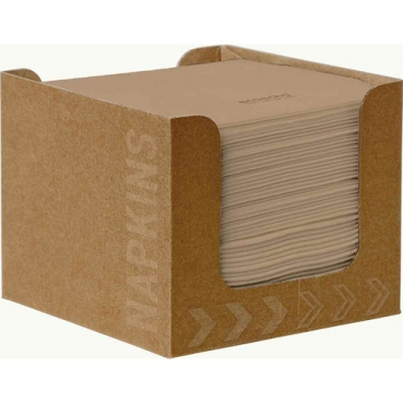 Duni ecoecho® Spenderbox mit 50 Dunisoft Cocktail Servietten in Eco Braun, 20 x 20 cm
