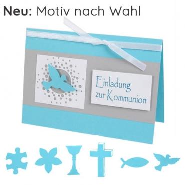 Einladungskarte Kommunion in Mintblau/Grau mit 6 Motiven zur Auswahl