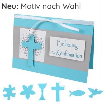 Einladungskarte Konfirmation in Mintblau/Grau mit 6 Motiven zur Auswahl