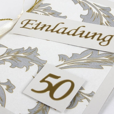 Einladungskarte Goldene Hochzeit Elegante Ornamente