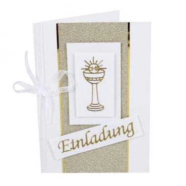 Einladungskarte zur Kommunion oder Konfirmation in Gold