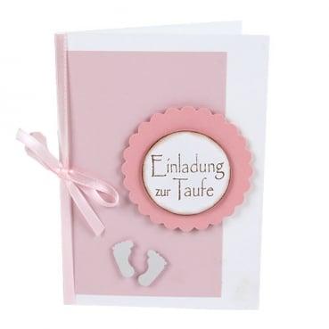 Tischkarte Taufe Füßchen In Weiß Rosa Tafeldeko De