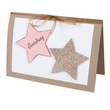 Schön Einladungskarte Weihnachten, Sterne, Geprägt In Hellbraun/Rosa | Tafeldeko