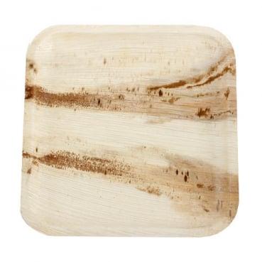 25 große Teller aus Palmblatt, eckig, Einweg, 25,5 x 25,5 cm