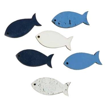 6 Holz Streuteile Fische