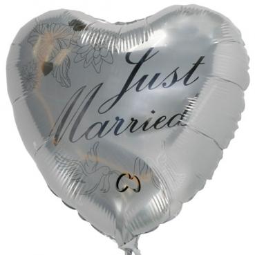Folien Ballon Herz, Hochzeit, Just Married in Silber für Heliumbefüllung, 45 cm