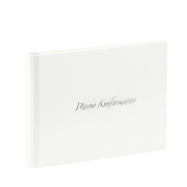 Gästebuch, Fotoalbum -Meine Konfirmation- in Weiß metallic