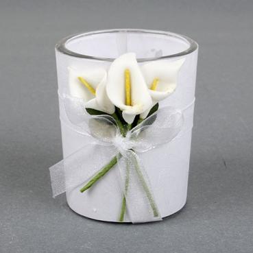 Gastgeschenk Hochzeit, Teelichtglas mit Callablumen, inkl. Teelicht, 60 mm