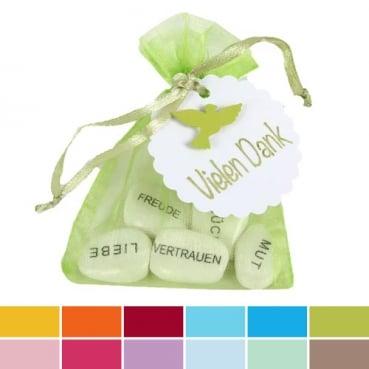 Gastgeschenk Organzasäckchen mit Gefühlssteinen, Taube in 12 Farben