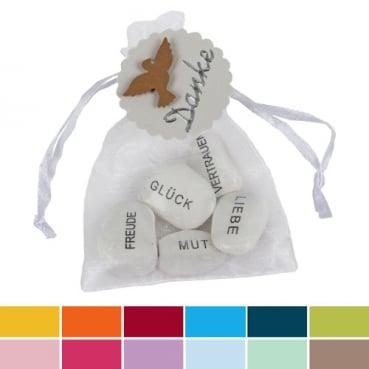 Gastgeschenk Organzasäckchen mit Gefühlssteinen, Danke, Taube in 12 Farben