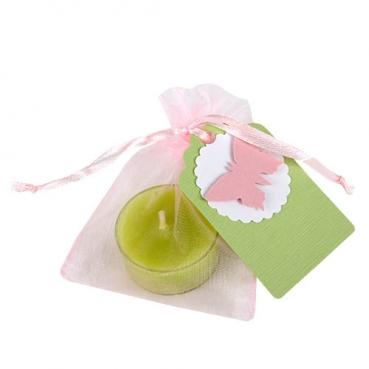 Gastgeschenk Schmetterling, Organzasäckchen in Rosa, Teelicht in Lindgrün