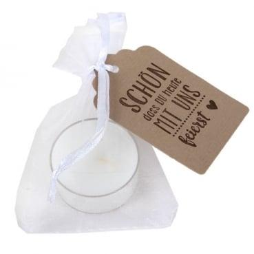 Gastgeschenk Spruch, Organzasäckchen in Weiß, Teelicht in 11 Farben auswählbar