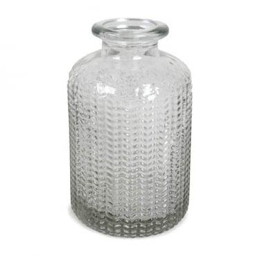 Kleines Glas Flaschen Väschen, gemustert, klar, 10 cm