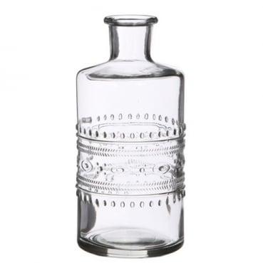 Glas Flaschen Vase, klar, 15 cm, Muster 1