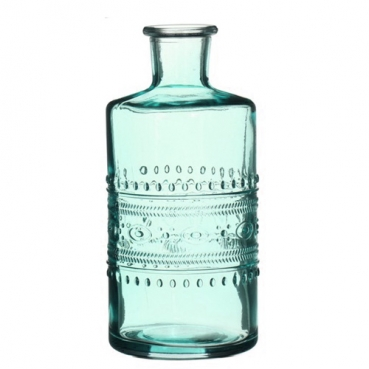 Glas Flaschen Vase in Aqua, 15 cm, Muster 1