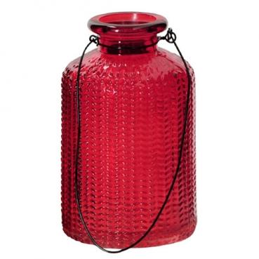 Kleines Glas Flaschen Väschen mit Henkel, gemustert in Rot, 10 cm