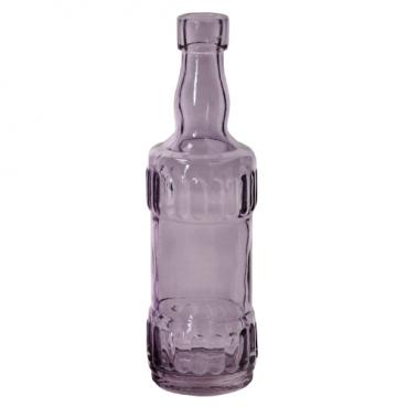 Kleines Glas Flaschen Väschen, Vintage in Lila, 17 cm