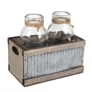 2 Glas Väschen in Holzbox mit Wellblech, 12 cm