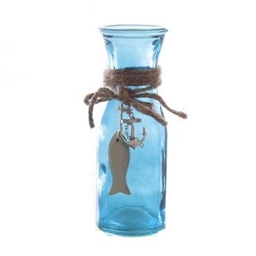 Glas Flaschen Vase Maritim mit Holz Fisch & Metall Anker, in Blau, 17 cm
